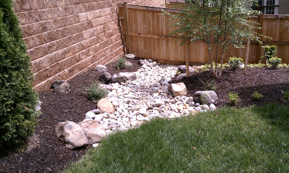 Designs for a sloped yard to make it easier to maintain for Dry landscape design