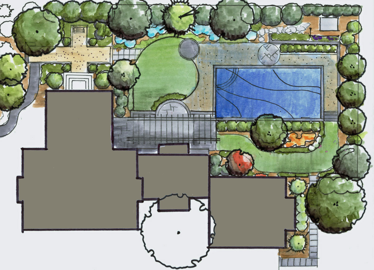 Fredericksburg landscape design and pool revolutionary for Pool garden plans
