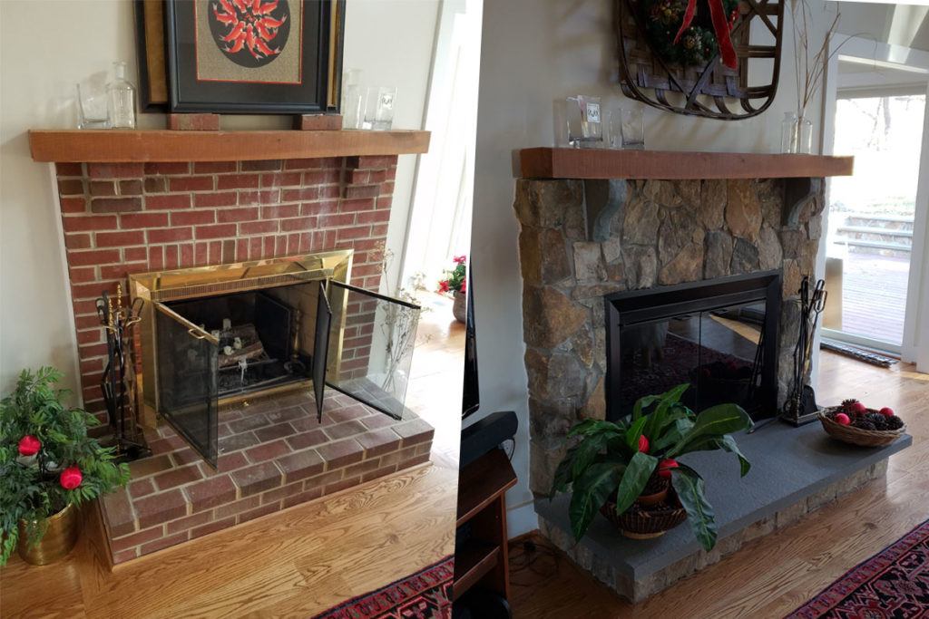 before and after of interior fireplace