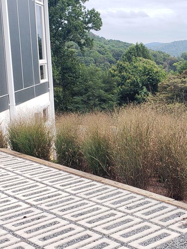 Linden VA landscape w pavers and Virginia native grasses